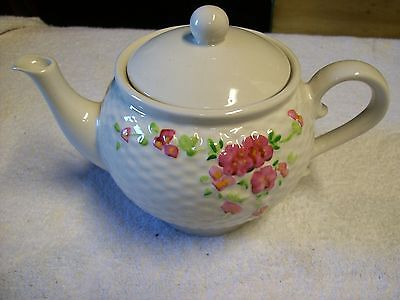 VINTAGE 1985 TELEFLORA COLLECTIBLE TEAPOT WHITE WITH PINK FLOWERS