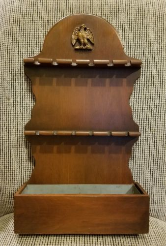Vtg. Wood Spoon Rack 12 Spoons Display With Catch Box Hanging Or Sitting~Eagle