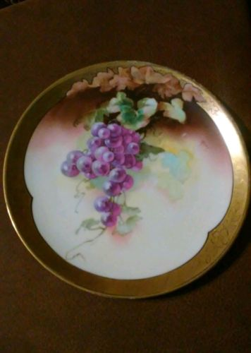 Antique Limoges France porcelain plate artist signed 19th century (1890's)