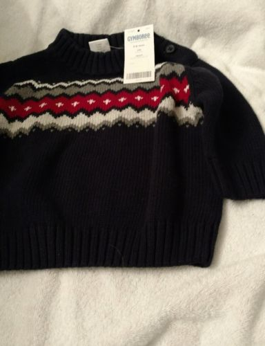 Gymboree Toddler Boy's NWT Sweater Size 3-6 months Navy red and gray