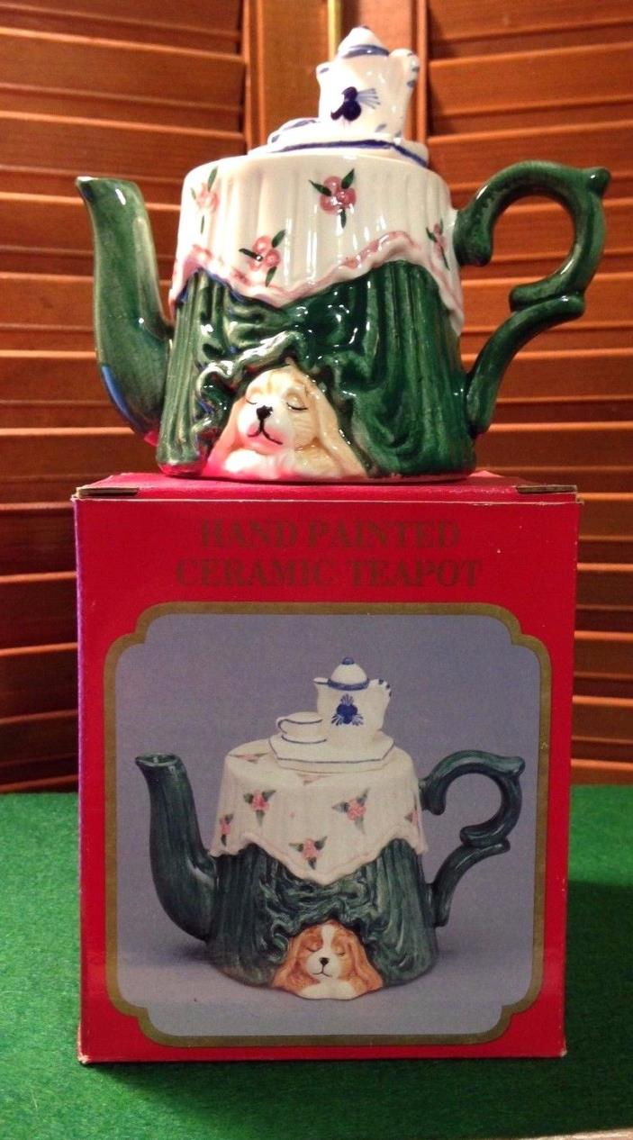 Ceramic Tea Pot Antique Round Table with Tea Pot decor and Original Box Nos