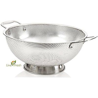 LiveFresh Stainless Steel Micro-perforated 5-Quart Colander Professional With