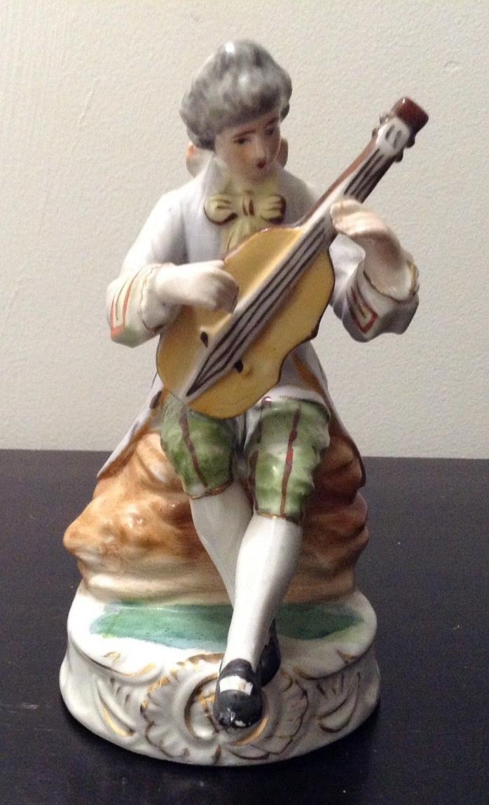 Antique  Victorian Man Playing Instrument Porcelain Figurine 6.5'' Tall RARE