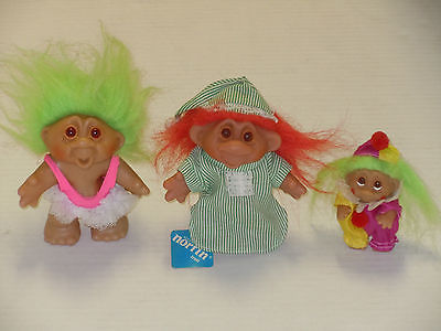 VINTAGE 1985 1986 ADOPT A NORFIN DAM TROLL LOT OF (3) DRESSED (1) WITH TAG