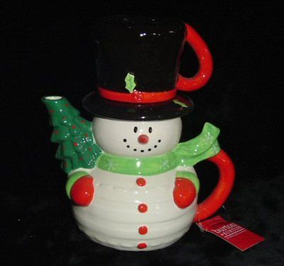 Christmas Teapot-Cute Snowman-Top Hat is a Mug Body Tea Pot-Brand New in Box