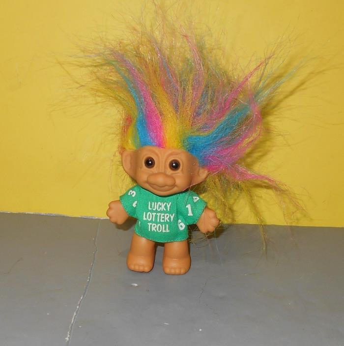 RUSS Troll Vinyl Doll Green Shirt w/ Rainbow Hair Good Luck Bingo Lottery Purse
