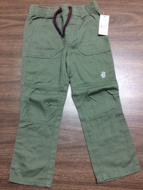 NEW TOUGHSKINS Toddler Boy's Pants w/ Skater Knees Natural Olive NWT 4T