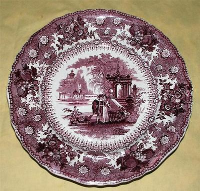 Antique Transferware Plate Milanese Pavilions Plate Joseph Heath Co Mulberry