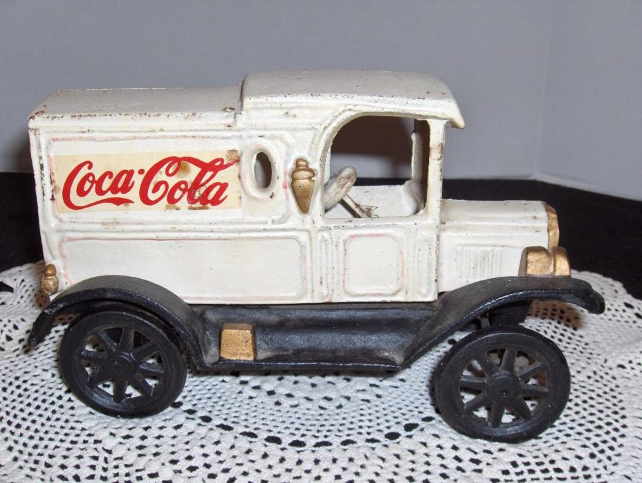 Coca-Cola Cast Iron Delivery Truck white black spoke wheels