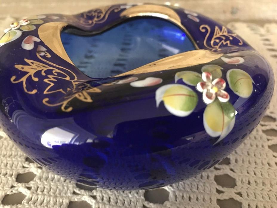 Vintage Czech Bohemian Glass Cobalt Blue Ashtray