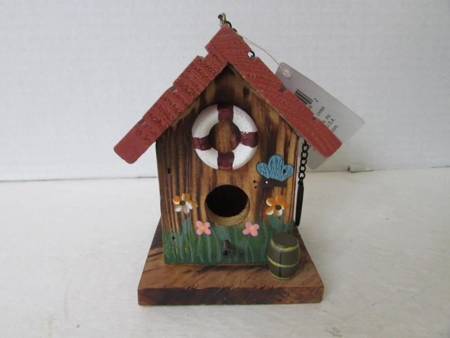 WOODEN HANGING BIRD HOUSE DECORATED BOATHOUSE W/PRESERVER 4-1/4