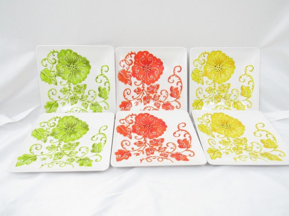 Laurie Gates Set of 6 Square Plates Floral Leaf Yellow Green Orange Melamine