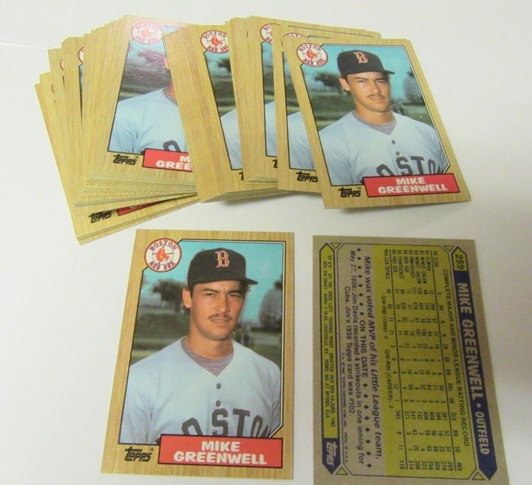 (50) 1987 Topps #259 Mike Greenwell Boston Red Sox Baseball Rookie Cards NM-Mint