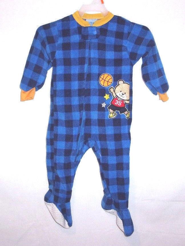 Carter's Infant Boy Coverall Footed Sleep Play Blue Plaid Zip Fleece Pajama 12M