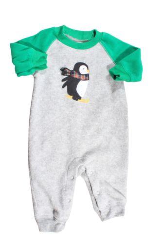 Carter's Gray Green Black White Penguin Fleece One Piece PJ's Size 3M