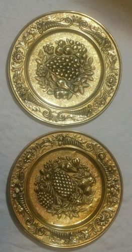 Wall Hanging Plate set of 2 Embossed Tin Copper England Fruit Pineapple 14
