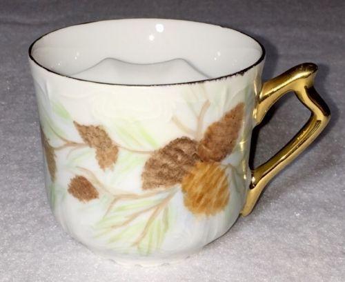 Vintage Victorian Gold Trim Porcelain Mustache Tea Cup Artist Signed
