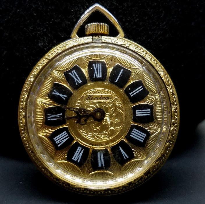 Vintage Heritage Open Front Wind-up Pocket Watch - Gold -Manual Movement -Swiss