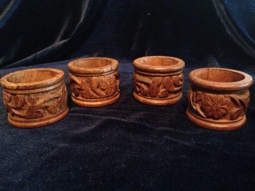 Lot Of 4 Vintage Hand Carved Rustic Teak Wood Napkin Holders