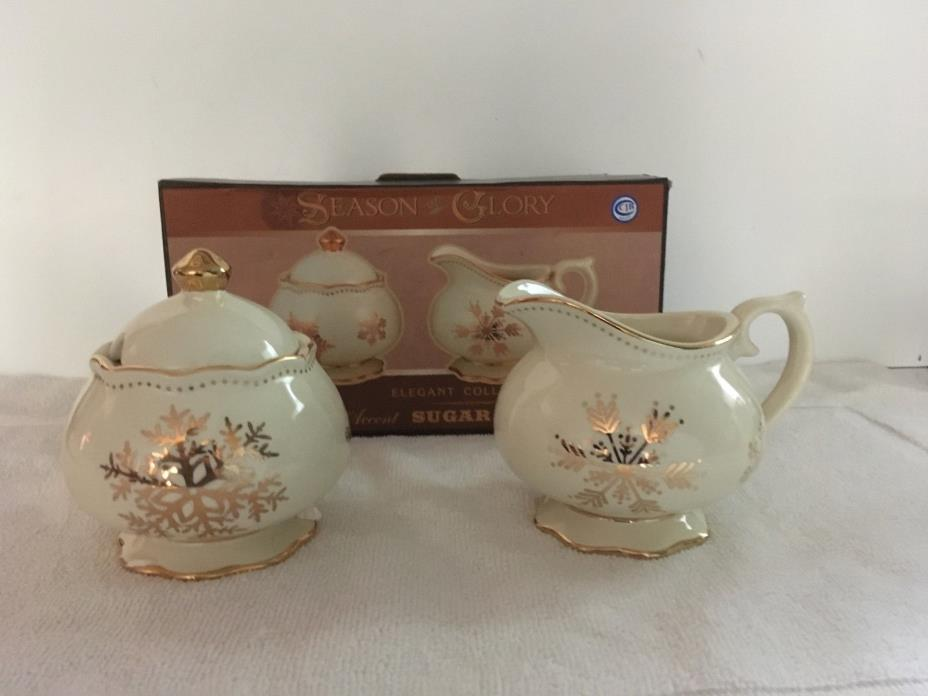 CRACKER BARREL SEASON OF GLORY GOLD SNOWFLAKES SUGAR AND CREAMER SET NEW IN BOX