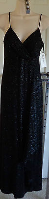 NWT RONNI NICOLE Empire GOWN DRESS Black Silver Glitter Straps Ruffle Pad BRA 6