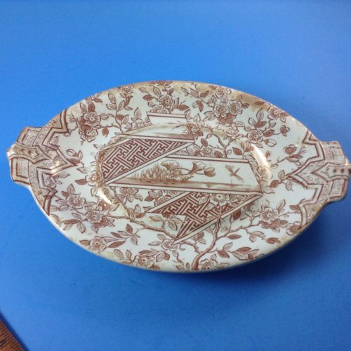19th Century PINDER & BOURNE Burslem England Pottery Transferware Small Oval