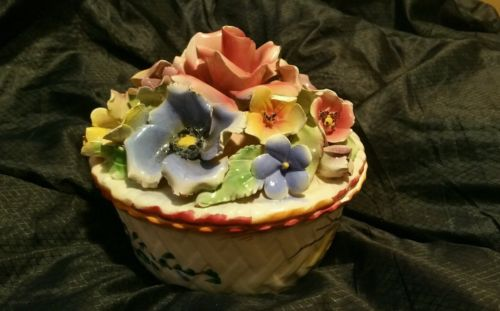 Antique Large Bisque Capodimonte Trinket Box With Hand Crafted Flowers on top