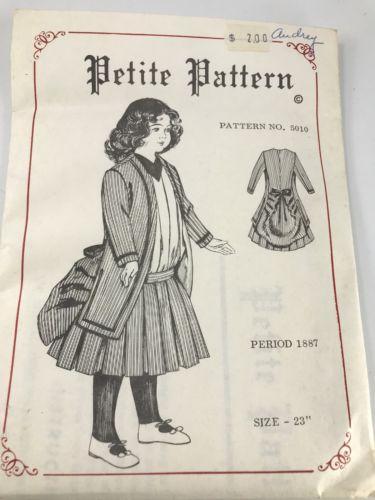Vintage Petit Pattern 5010 Doll Dress Pattern Period 1887 Size 23 inch Doll