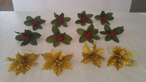 Vintage Holiday plastic and flower napkin rings