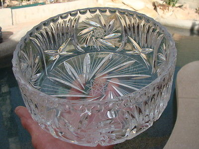 Stunning Bohemian Clear Lead Cut Crystal Large Round Bowl. Salad Fruits Bowl 8