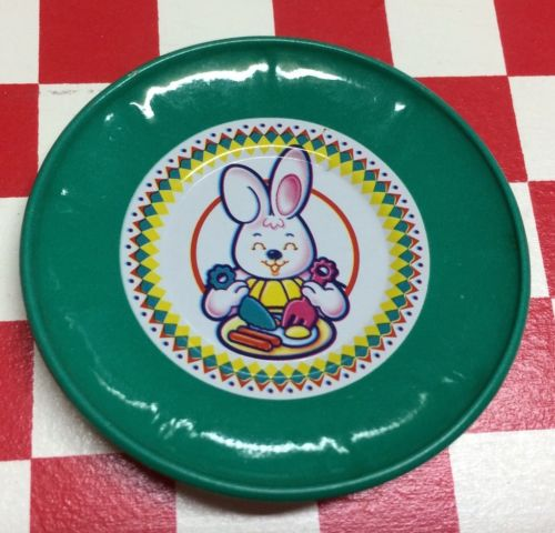 Vintage Faux Play Fake Food Metal Plate Bunny 3D MAGNET