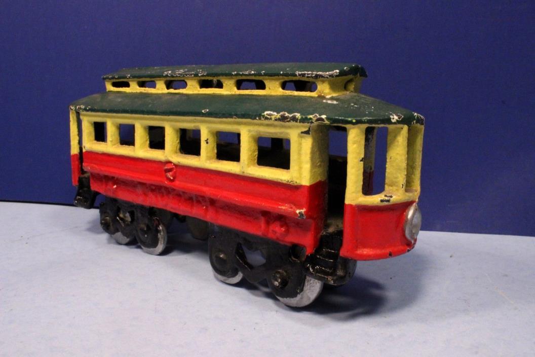 Vintage Cast Iron Trolley Street Car #14