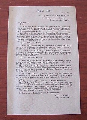 1915 National Guard of California transfer paper - from Infantry to Calvary LA