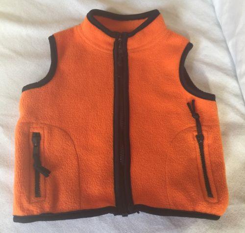 Baby Boy 18M Orange Kiks Fleece Vest