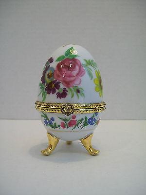 Egg Shaped Oval Floral Hinged Trinket Holder Trinket Box