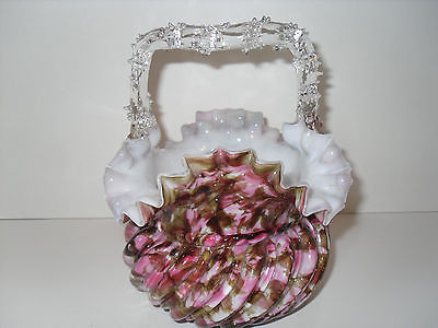 Bohemian Czech Basket Pink Brown Spatter Thorn Handle Clear Cased Art Glass