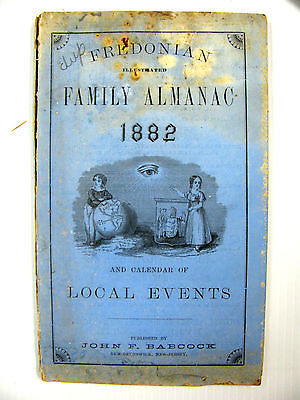 Antique 1882 Fredonian Family Almanac, Babcock,  N.J., 80 Pages