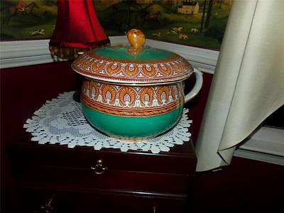 vntg. GRECIAN BORDER 3046 CHAMBER POT VICTORIAN HAND PAINTED  BEAUTIFUL DECOR