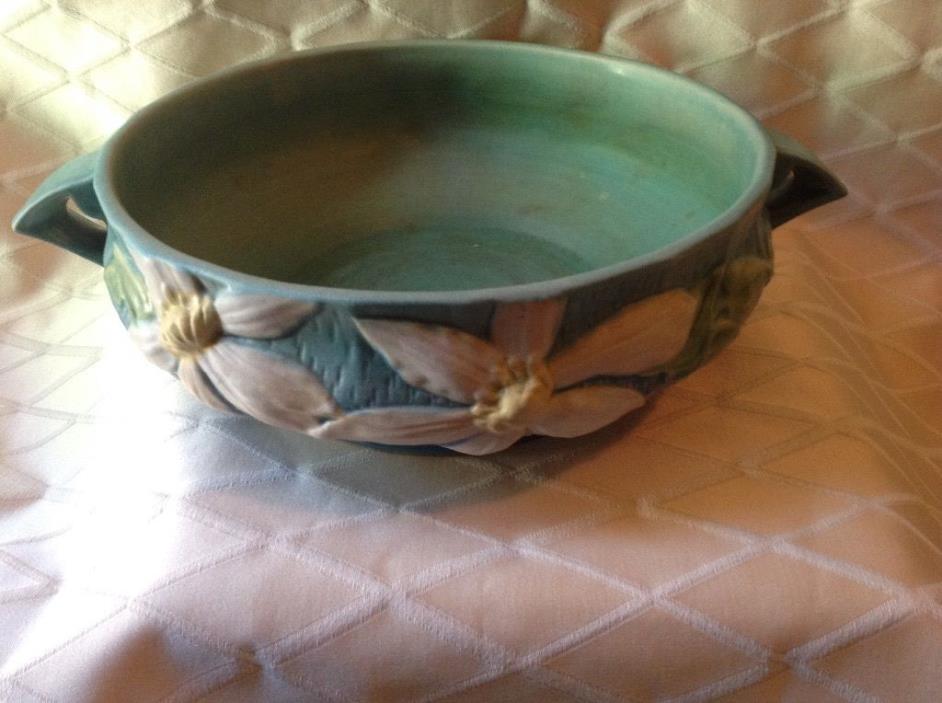 Vintage Roseville Clematis 459-10 Double-Handled Centerpiece Bowl Blue/Green