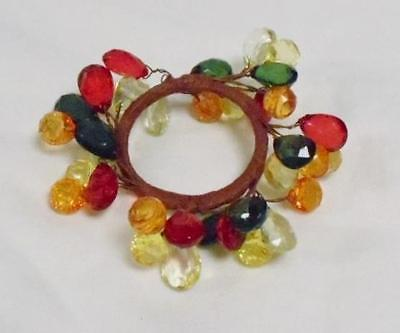 NAPKIN RINGS GARDEN FIESTA RING OF AMBER RED GREEN GOLD YELLOW CLEAR BEADS