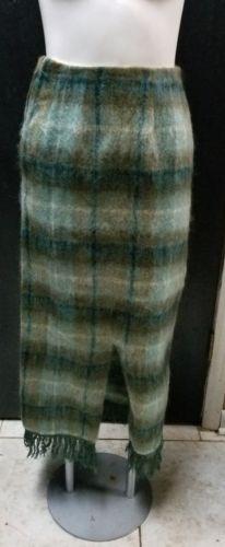Vtg Glenrannoch Mo Hair & Wool Scottish Green Plaid Skirt 12