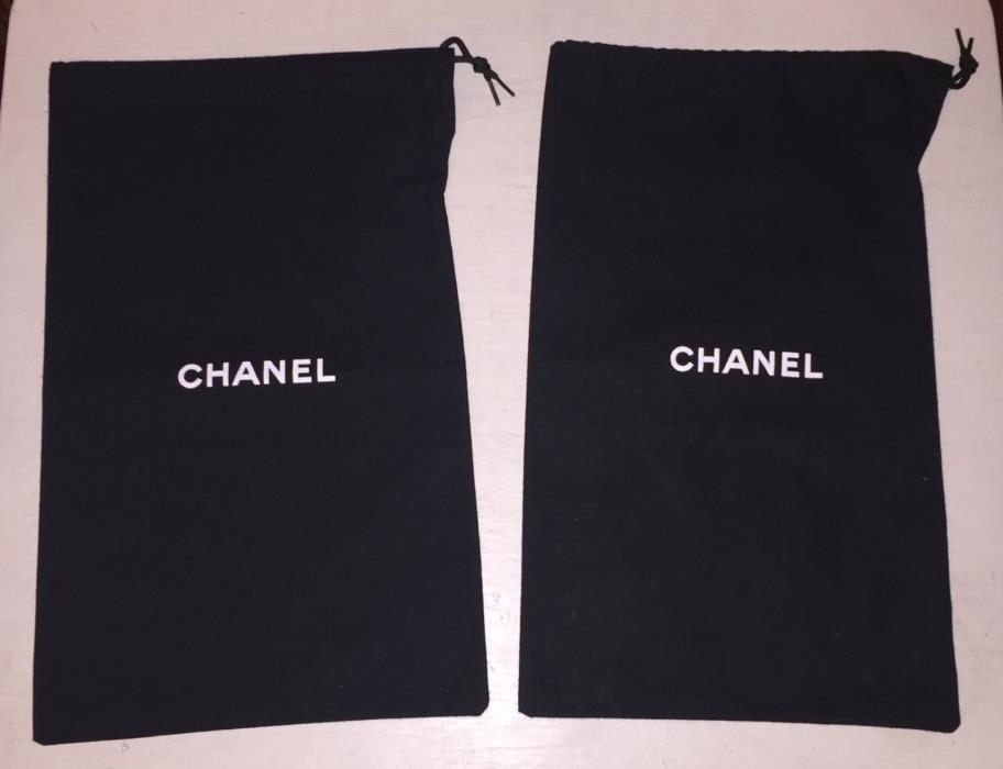 CHANEL set of 2 Dust Bags Shoe Storage Black - 12.5