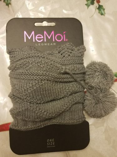 MEMOI Dot Diamond Crochet Boot Topper with Pompoms Gray One Size NWT