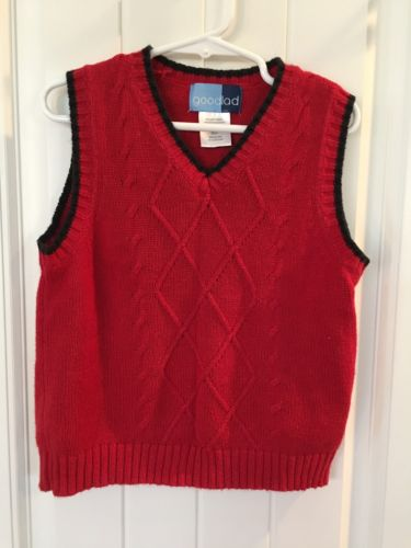 Boy's Good Lad Size 3T Sweater Vest Red Cable Knit 3 Toddler Christmas Holiday