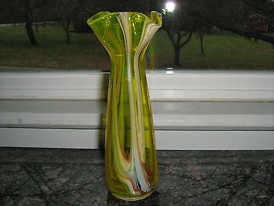 Hand Blown Stretch Glass Yellow Ribbon Vase 8 '' tall