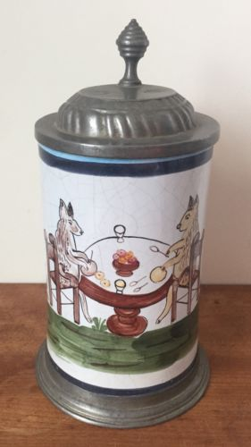 German Faience Porcelain Beer Stein Pewter Lid 18th C Dogs Eating & Flowers Mug