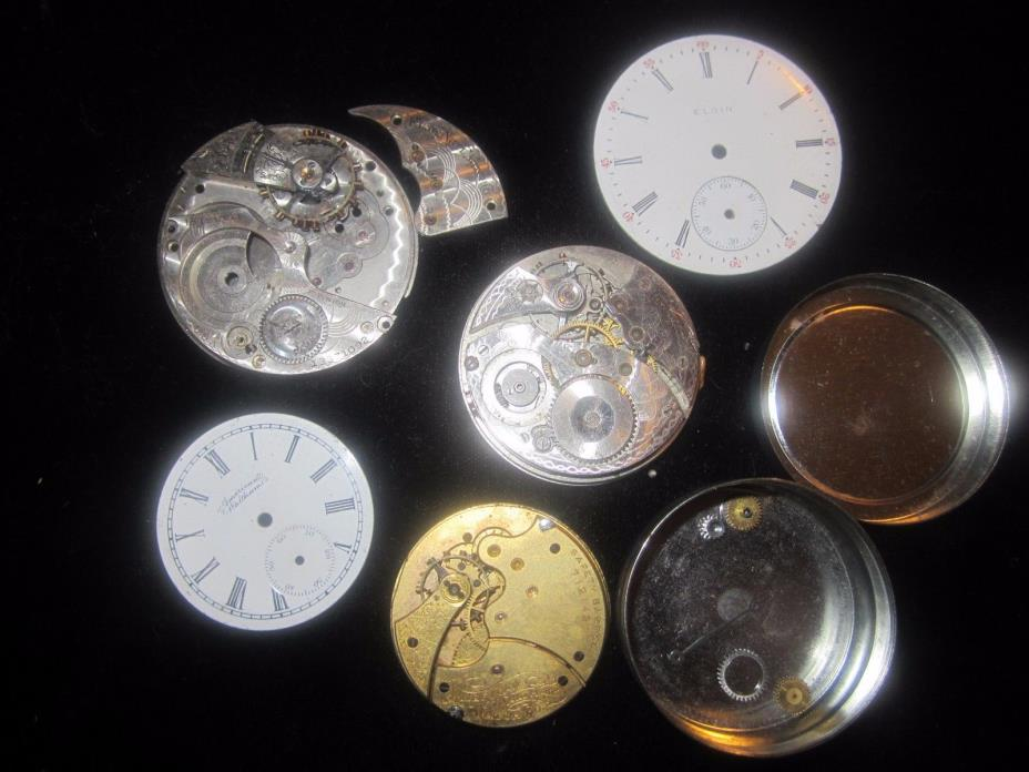 LOT,ELGIN,AMERICAN  WALTHAM ,POCKET WATCH PARTS,DIALS,MOVEMENTS,TIN,ANTIQUE