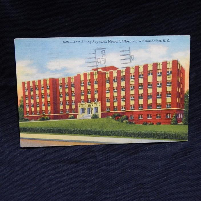 KATE BITTING REYNOLDS MEMORIAL HOSPITAL LINEN POSTCARD (25A)