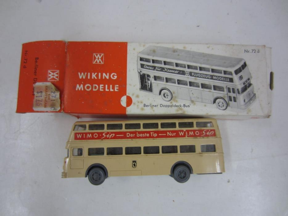 Vintage Wiking No.72 d BERLINER DOPPEDECK-BUS HO Scale Double Decker WIMO SIP