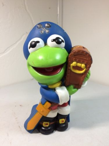 Vintage 1989 Kermit The Frog bank Pirate Treasure The Muppets Jim Henson